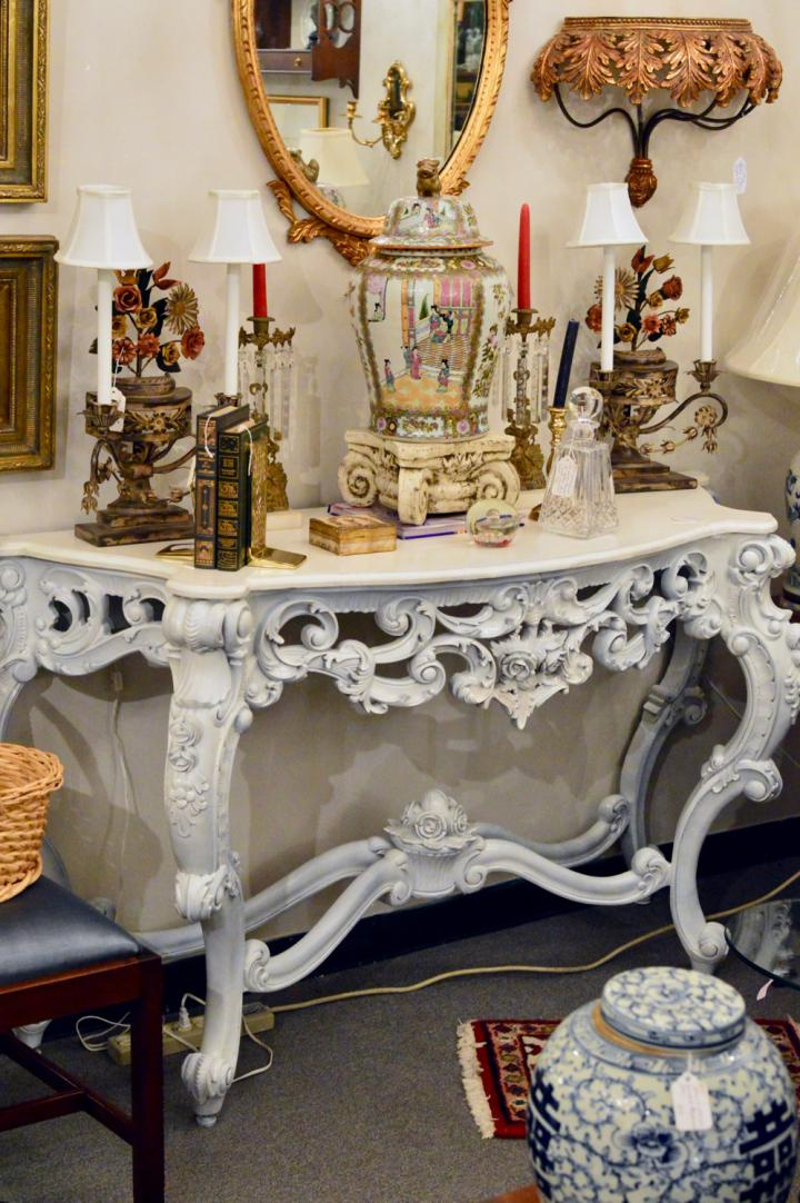 Ornate white console table
