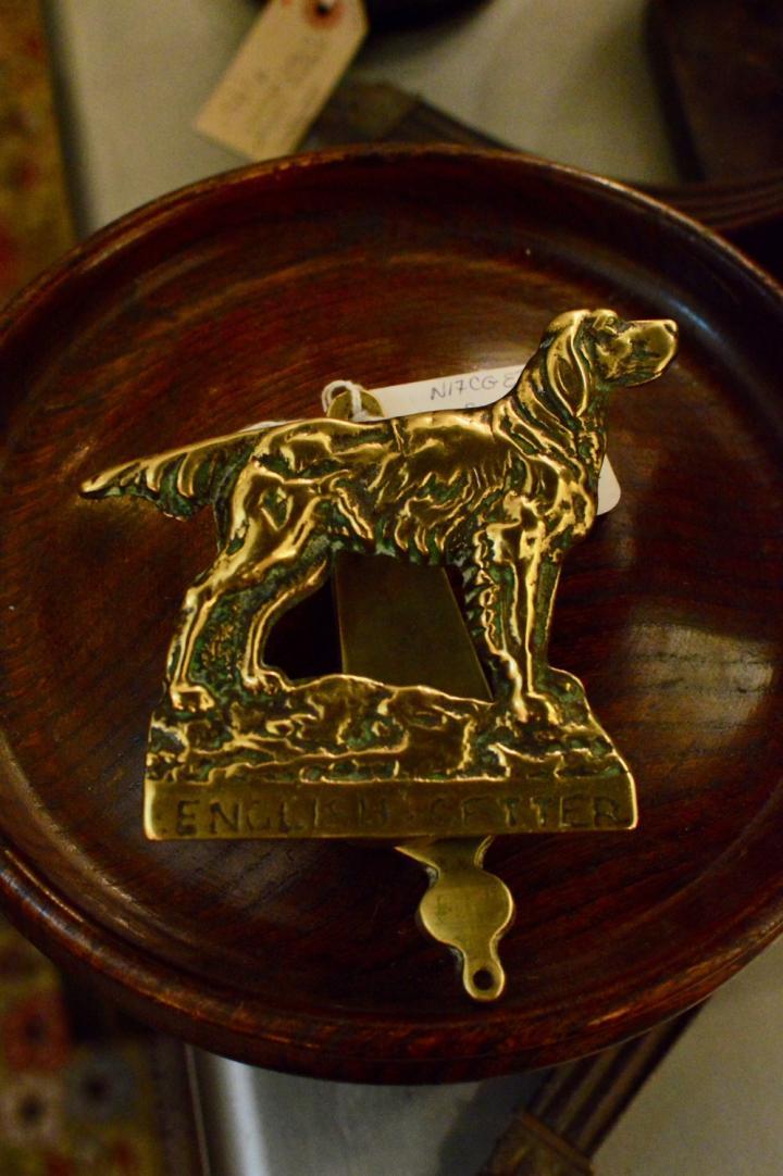 Antique English brass English setter door knocker