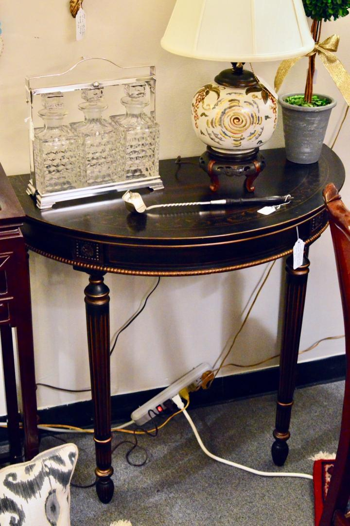Demilune neoclassical style, gilt w/ drawer