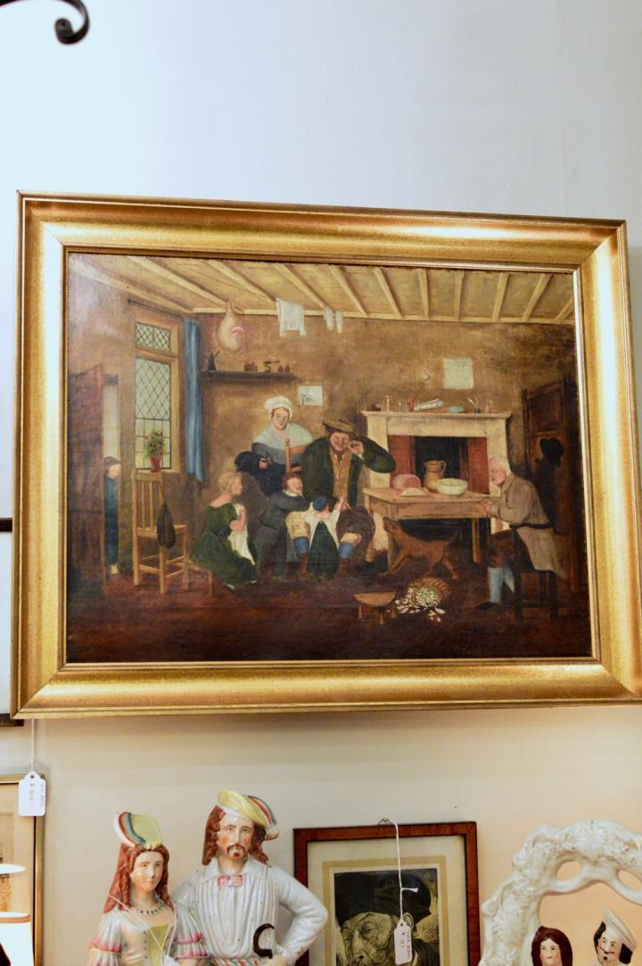 19th century oil on canvas, genre scene
