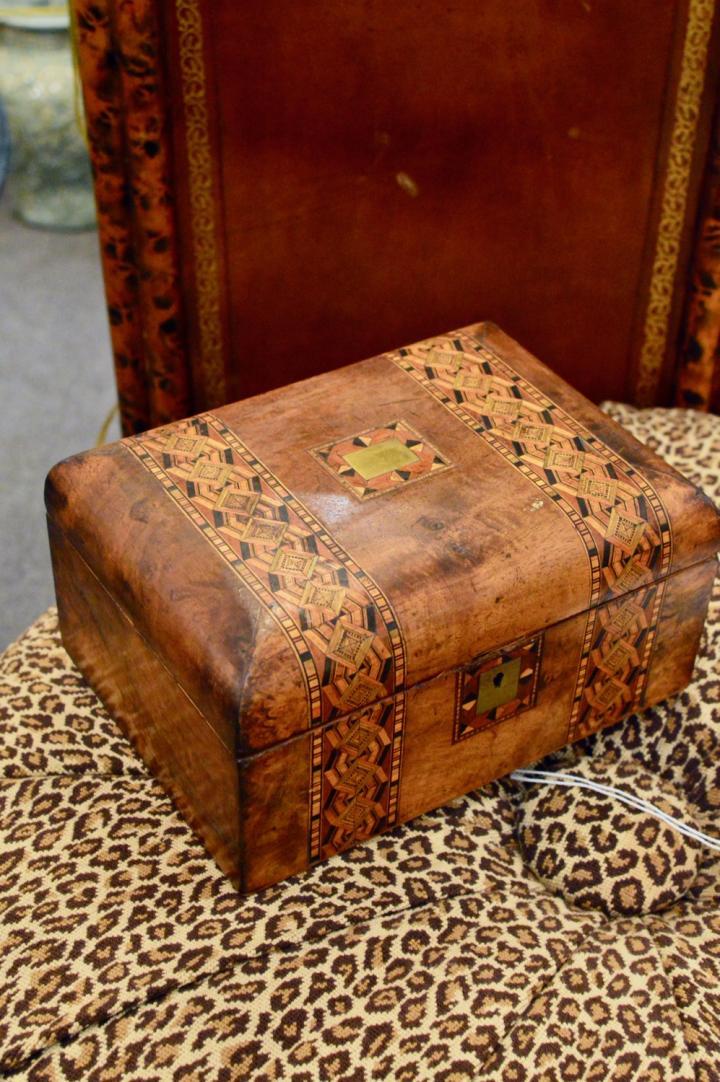 Late 19th century English Tunbridge Ware inlaid sewing box