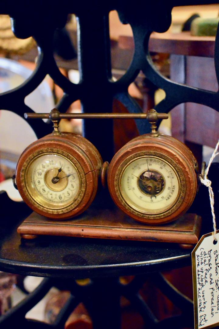 Vintage French clock & weather station set.