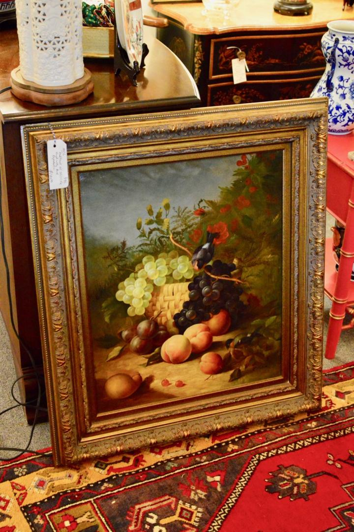 Traditional oil still life fruit w/ bird reproduction
