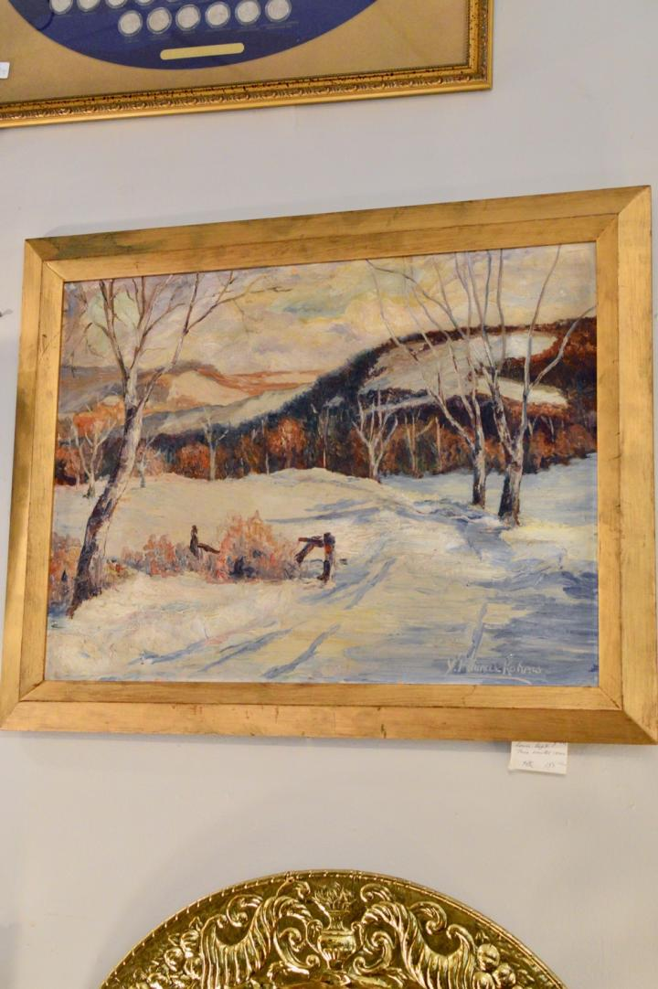 Signed painting - oil on board - winter scene