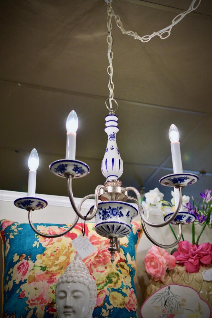 Blue / white porcelain w/ pewter chandelier