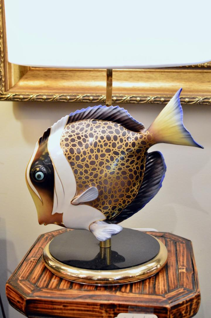 Italian porcelain fish lamp