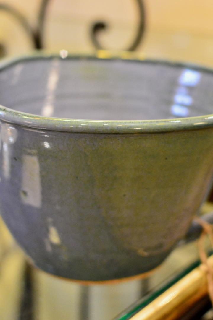 Handmade blue mixing bowl