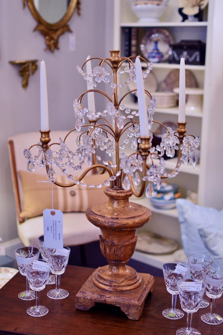 Vintage 5 light Italian gold & crystal prisms candelabra