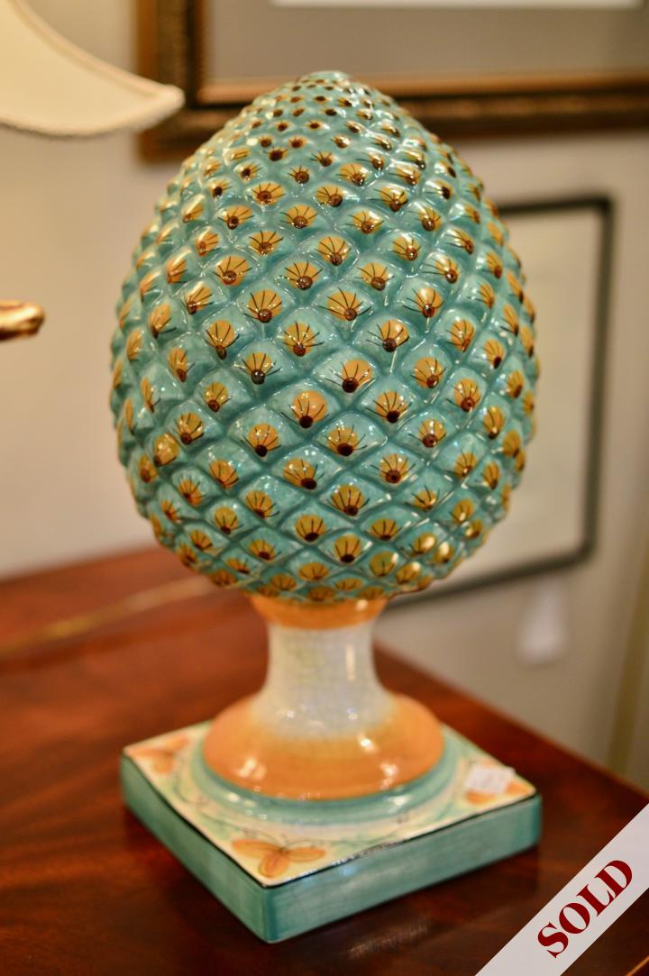 Pottery artichoke 1 of pair