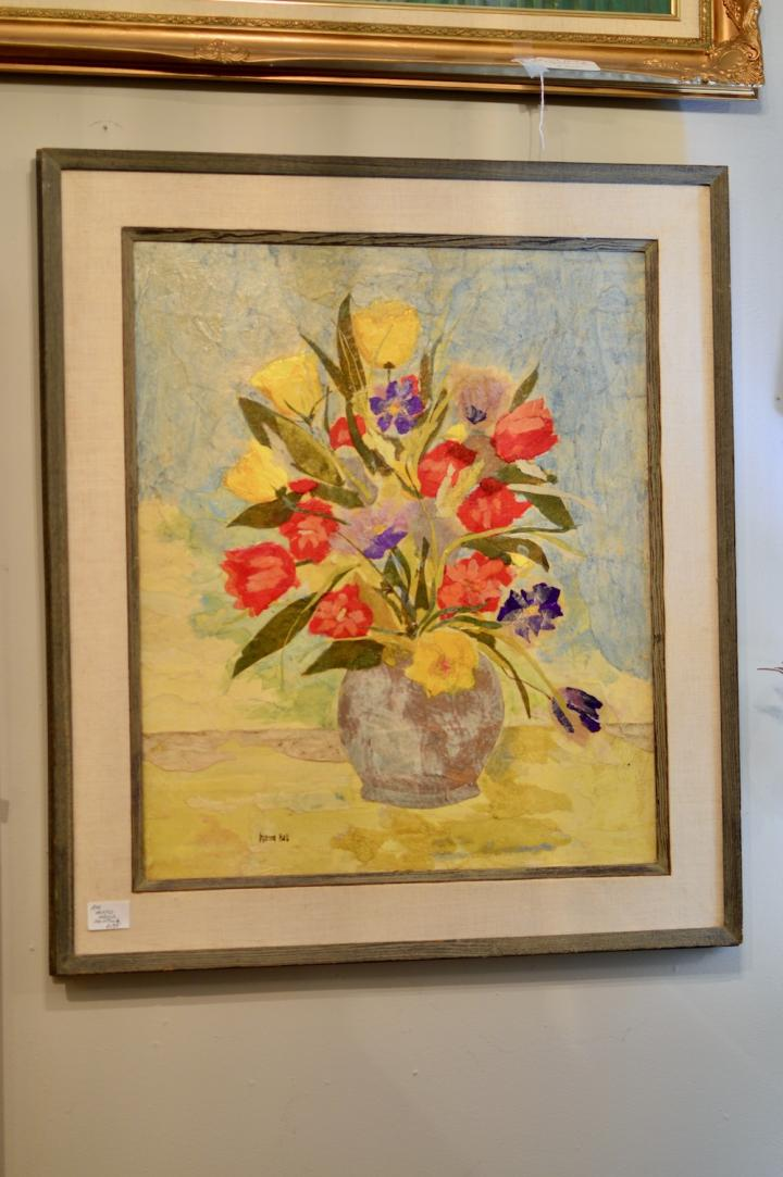 Mixed media painting - signed Marion Hall