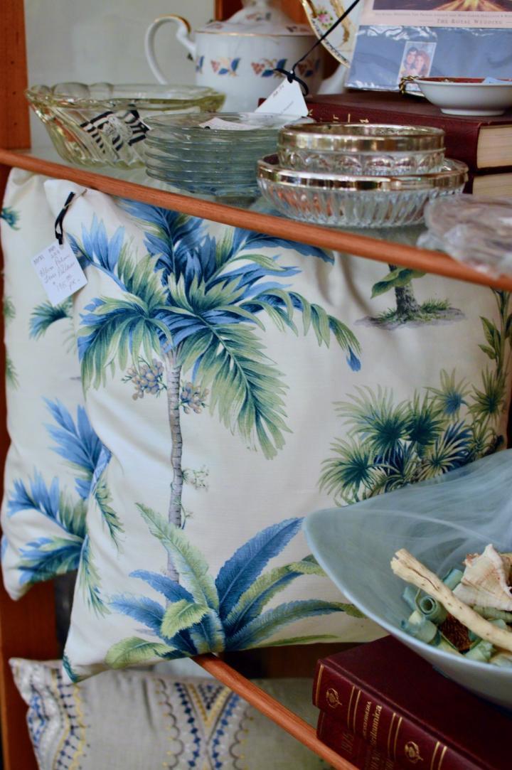 Blue / green palm trees pillows pair