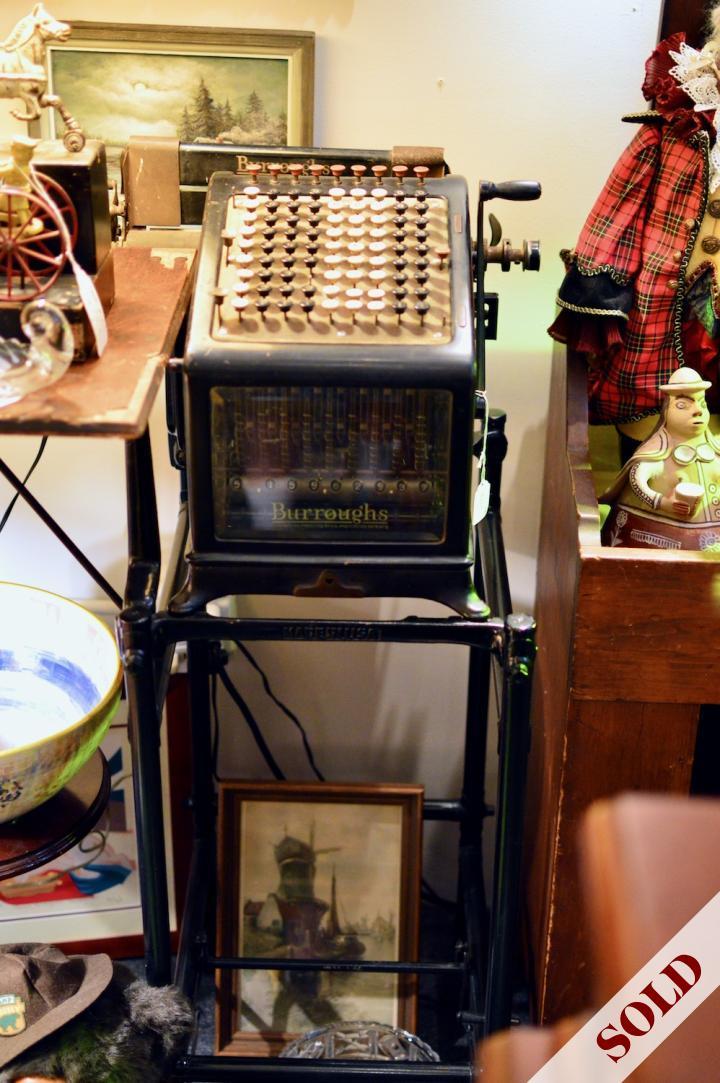 Burroughs adding machine & stand