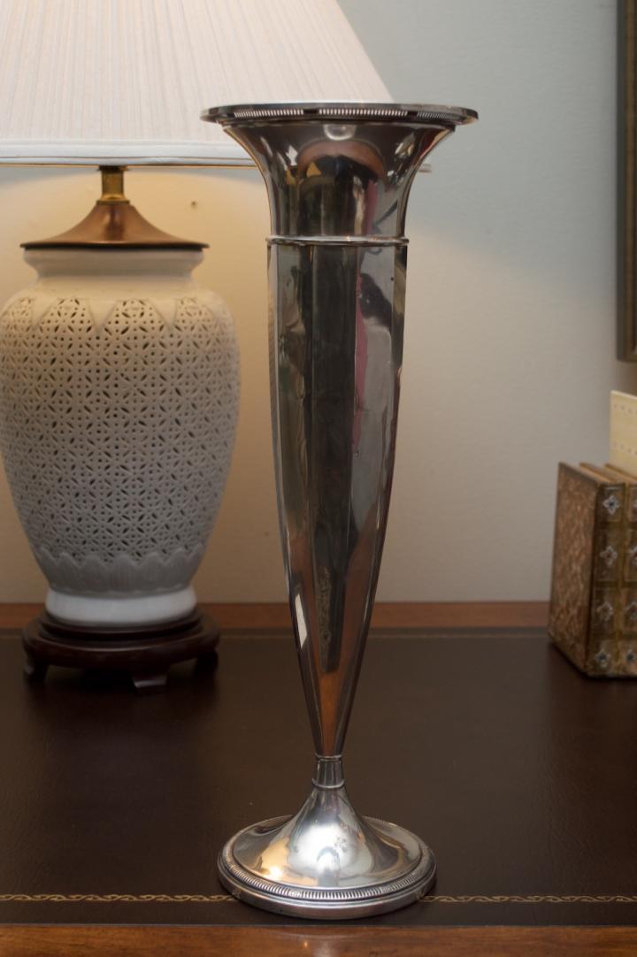 """Sterling Silver Trumpet Vase 14 3/4"""" high."""