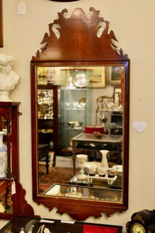 Vintage mahogany Chippendale mirror with carved pair of Phoenix birds