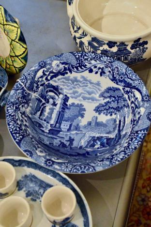 Italian blue willow salad or vegetable bowl
