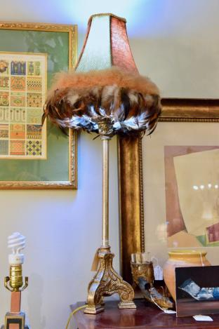 lamp with feathery shade (1 of pair)