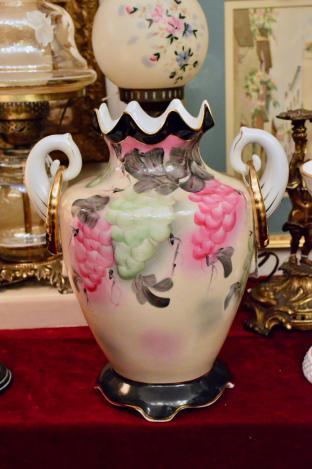 "Porcelain ""nippon"" vase. Hand painted, gold detailed, art nouveau style."