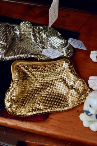 """Whiting & Davis"" gold mesh purse"