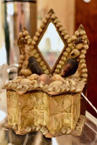 """""""Sailor's valentine"""" shell box dresser w/ mirror."""
