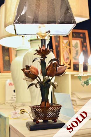 Antique tole lamp w/ vintage shade
