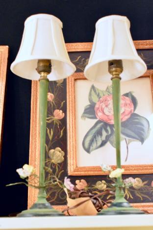 Pair of antique tole lamps