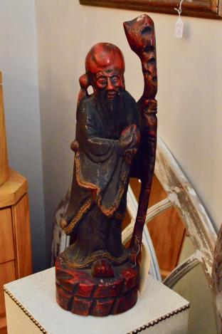 Very large hand carved elder w/ staff