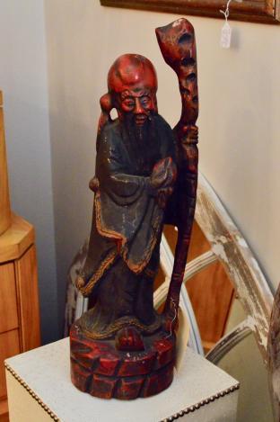 Very large hand carved elder w/ staff