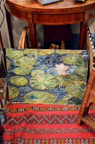 Lily pad painting signed G. Little