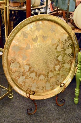 Large decorative embossed brass tray