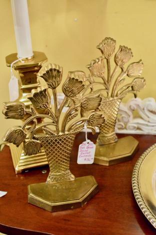 Pair brass flower basket bookends