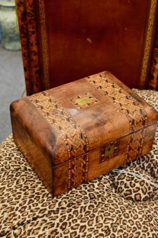 Late 19th century English Tunbridge Ware inlaid sewing box