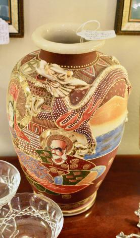 Large vintage Asian dragon vase