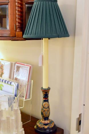 Oriental candlestick design buffet lamp. 1 of pair.