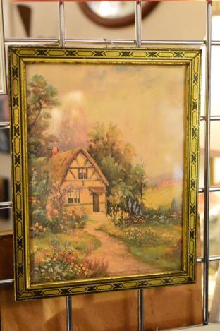 Metal framed cottage print