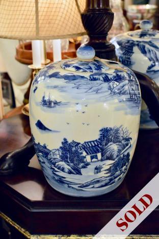 Asian blue & white Canton design porcelain ginger jar