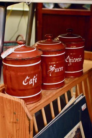 Vintage French 3pc canister set
