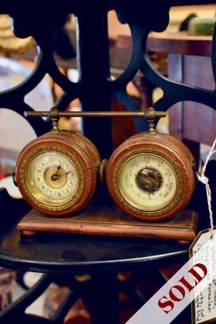Vintage French clock & weather station set.