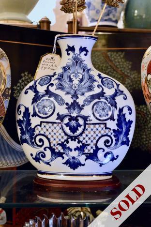 Bombay blue, white & gold vase