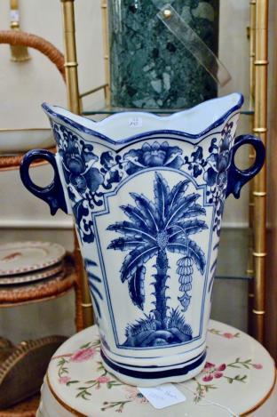 Blue & white palm tree vase