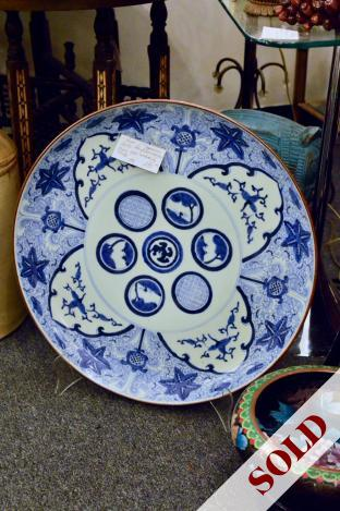 Large Japanese Arita blue & white charger