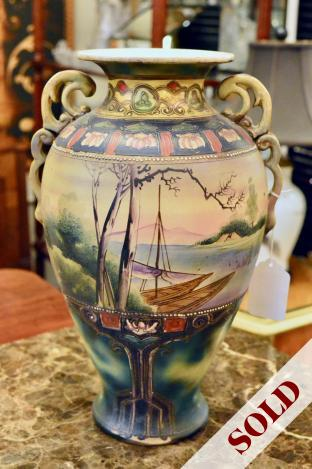 "16"" Asian vase w/ scalloped handles"