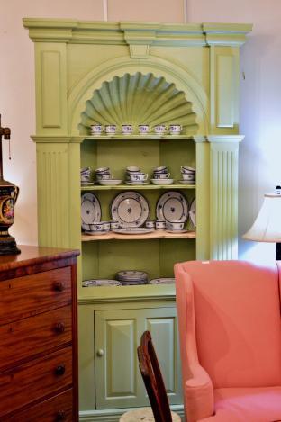 Green corner cabinet