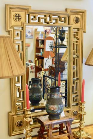 Asian fretwork mirror