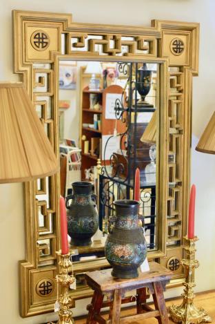 Asian fretwork mirror