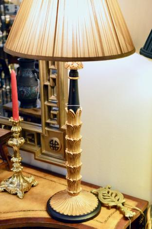 Gold candlestick lamp (1 of pair)