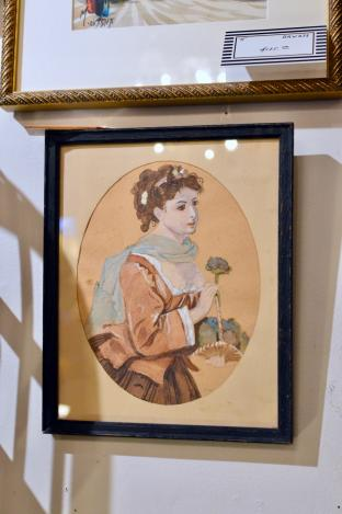 19th century original Victorian watercolor - gouache portrait