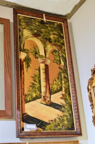 Mid century modern architectural portico oil on board