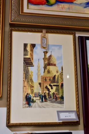 M Okasha Middle Eastern street scene watercolor