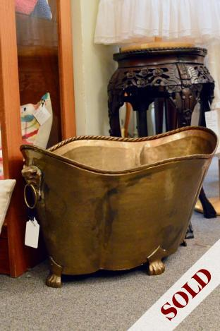 Antique brass repoussed planter