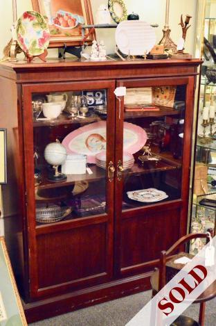 Mahogany & glass bookcase w/ key